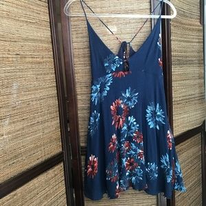 Lulu's Navy Blue Floral Spaghetti Strap Tie Dress